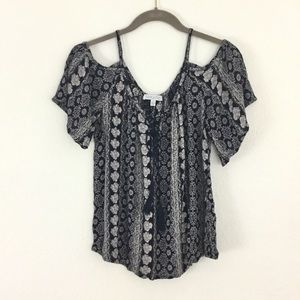 Patrons of Peace Navy Boho Cold Shoulder Top